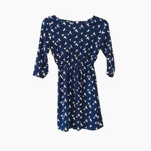 Everly 3/4 Sleeve Hummingbird Print Dress